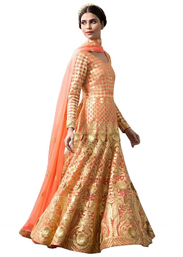 Peach anarkali suit adorn in gotta lace embroidery all over only on Kalki