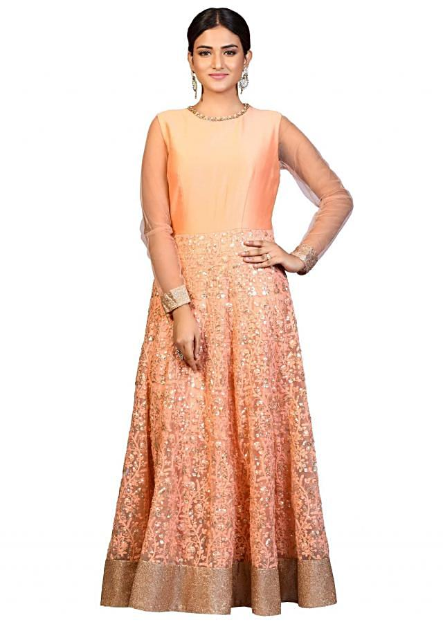 Peach anarkali suit adorn in resham and sequin embroidery