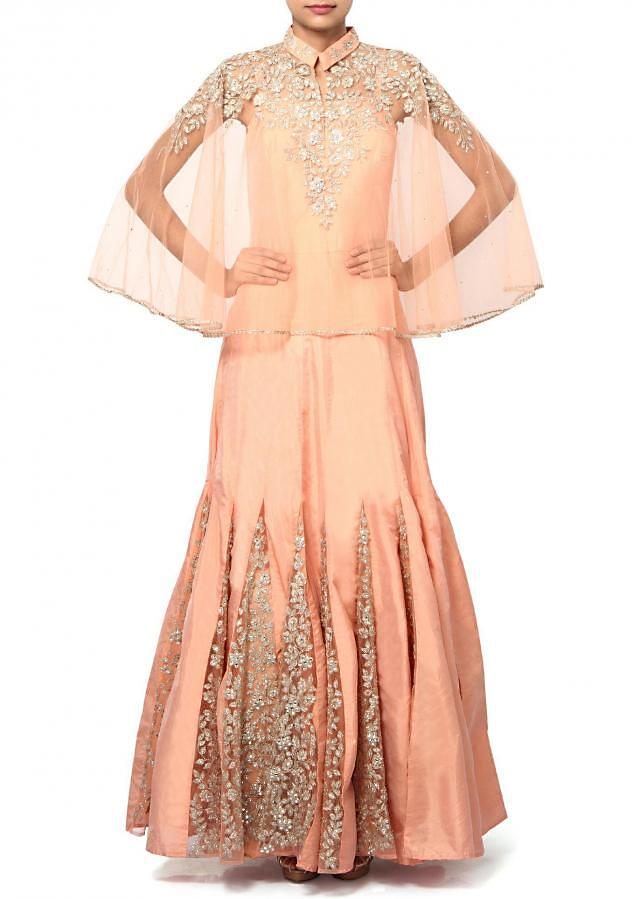 Peach anarkali suit adorn in thread and kundan embroidery only on Kalki