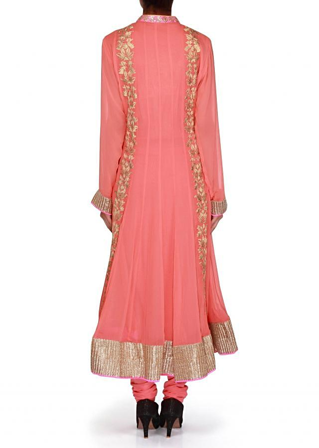 Peach anarkali suit adorn in zari and sequin embroidery only on Kalki