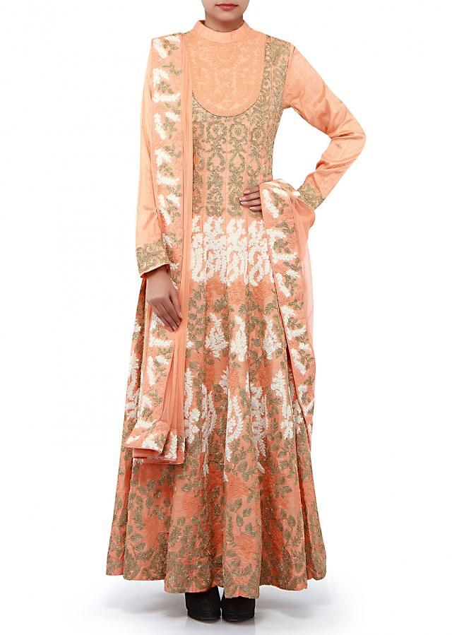 Peach anarkali suit adorn in zari and thread embroidery only on Kalki