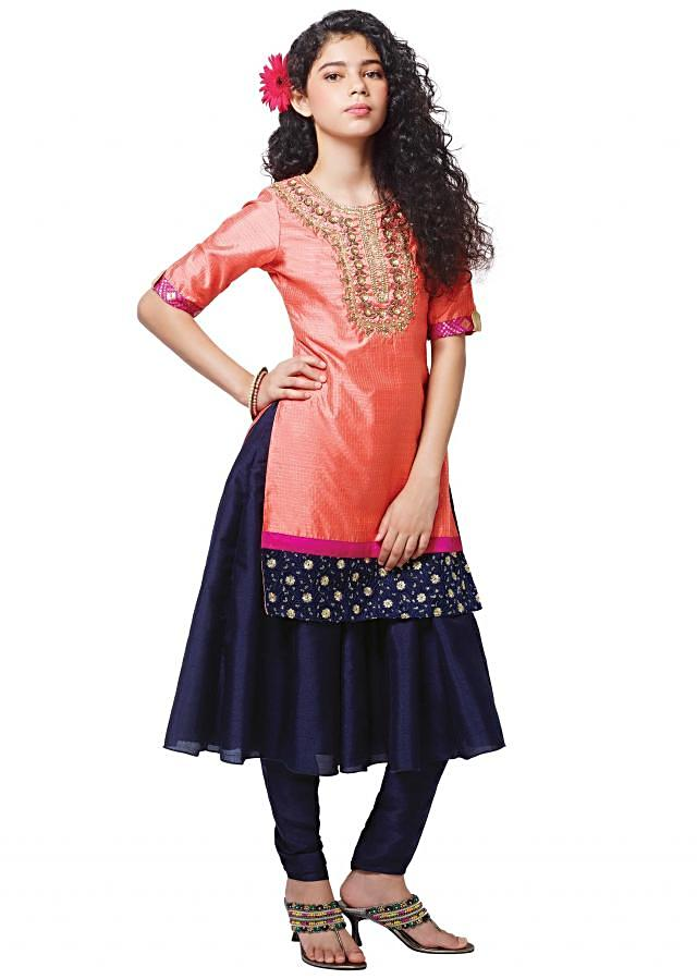 Peach and blue anarkali suit with embroidered neckline
