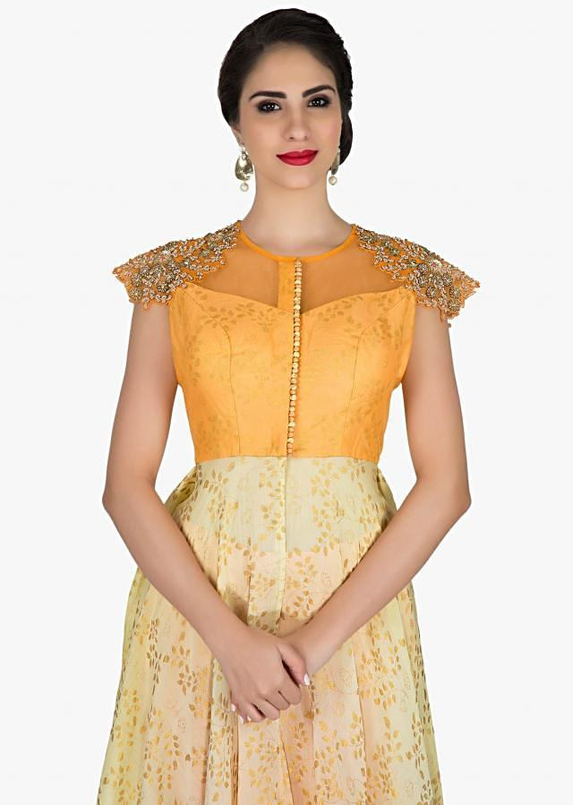 Peach and cream dress with foil print and embroidered shoulder only on Kalki