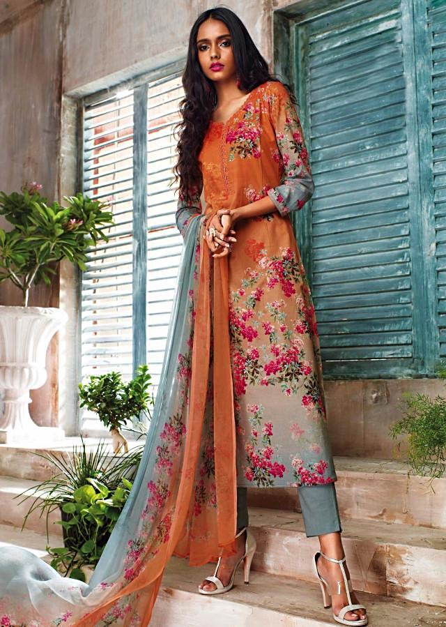 Peach and grey unstitched printed suit with ready neckline