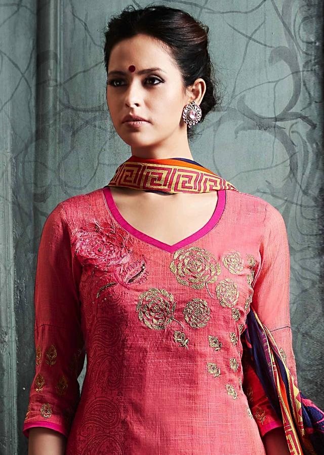 Peach and rani pink double layer suit in resham and zari embroidery in rose motif only on Kalki