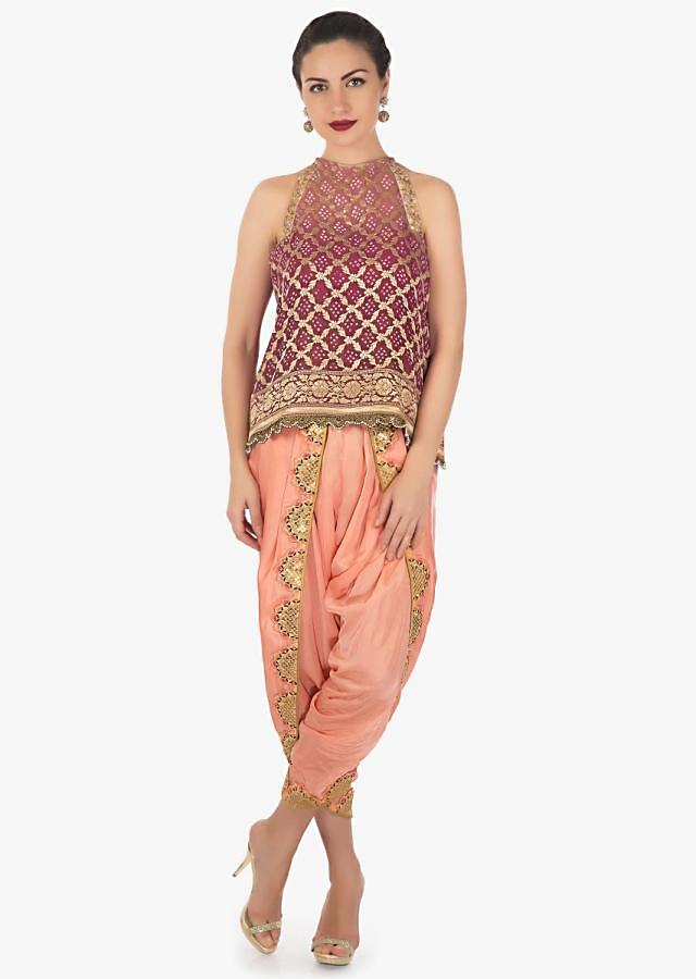 Peach and rani pink shaded top with navy blue dhoti pants in resham and zari work only on Kalki