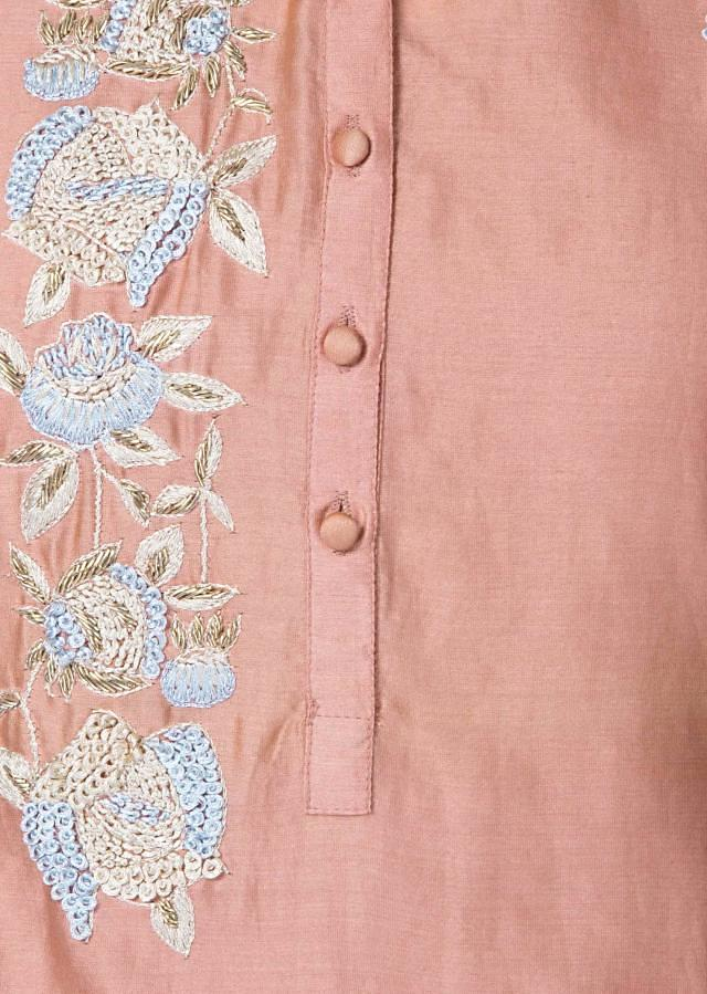 Peach and white kurti adorn in french knot embroidery only on Kalki