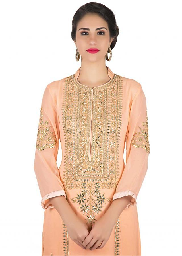 Peach bud straight palazzo suit in gotta lace and patch embroidery only on Kalki
