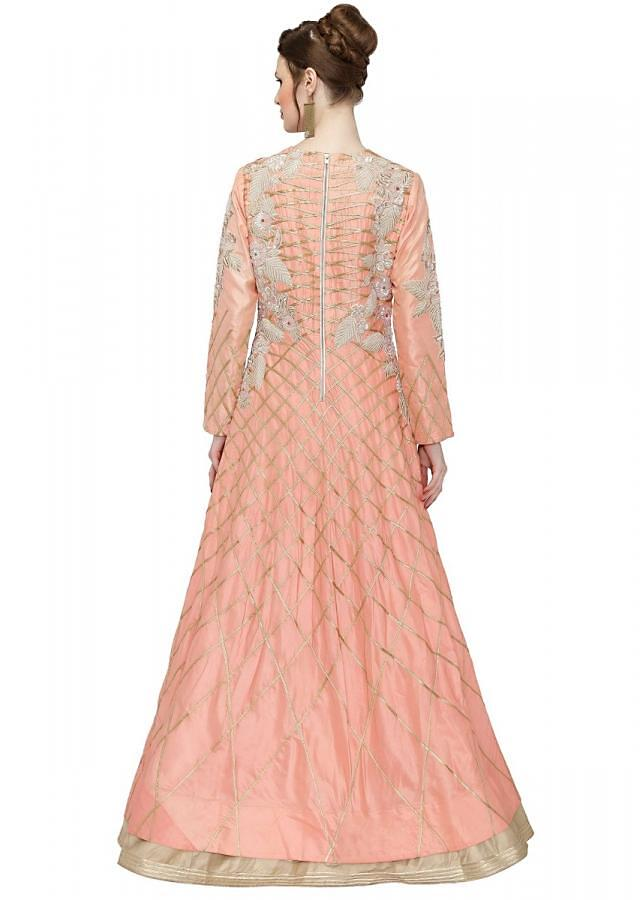 Peach Cotton Silk Gown with Thread Work, Sequins and Lace only on Kalki