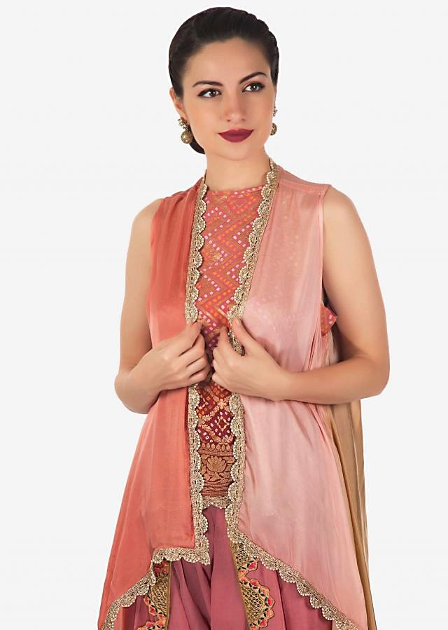 Peach Dhoti Salwar With Short bandhani printed top and shaded jacket only on Kalki