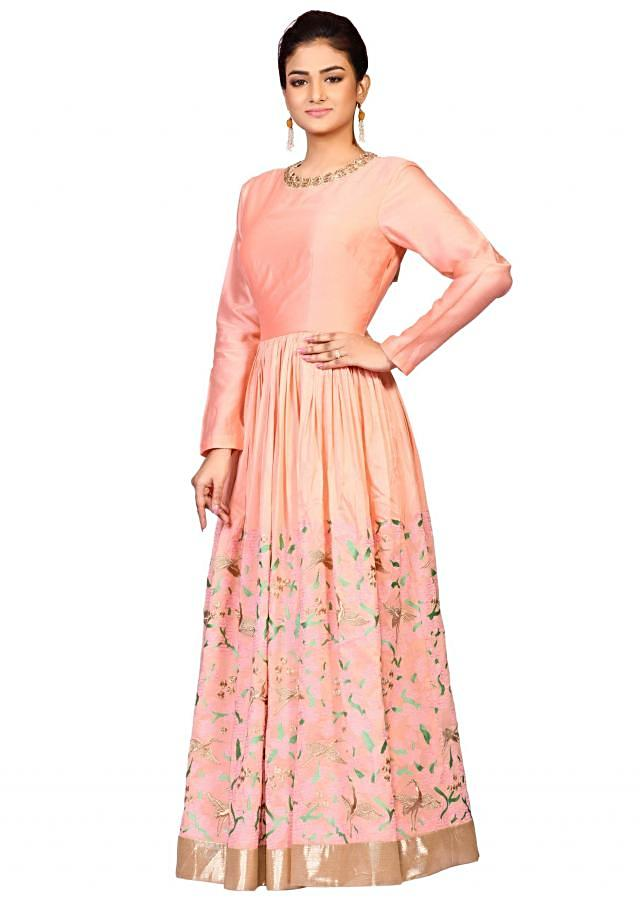 Peach embroidered suit in chanderi fabric constructed in resham embroidery only on Kalki