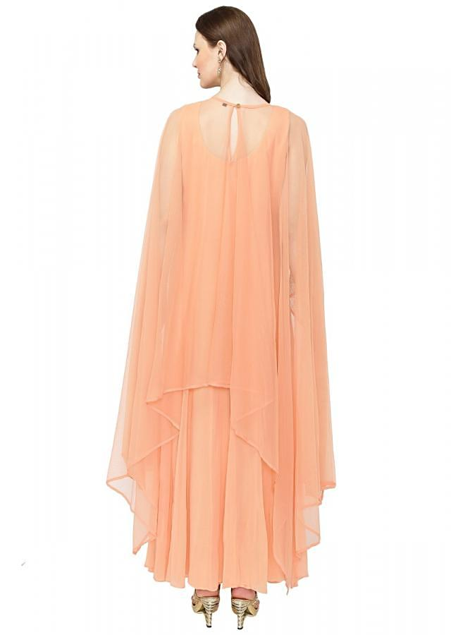 Peach Georgette Gown Featuring Kundan Studded Cape only on Kalki
