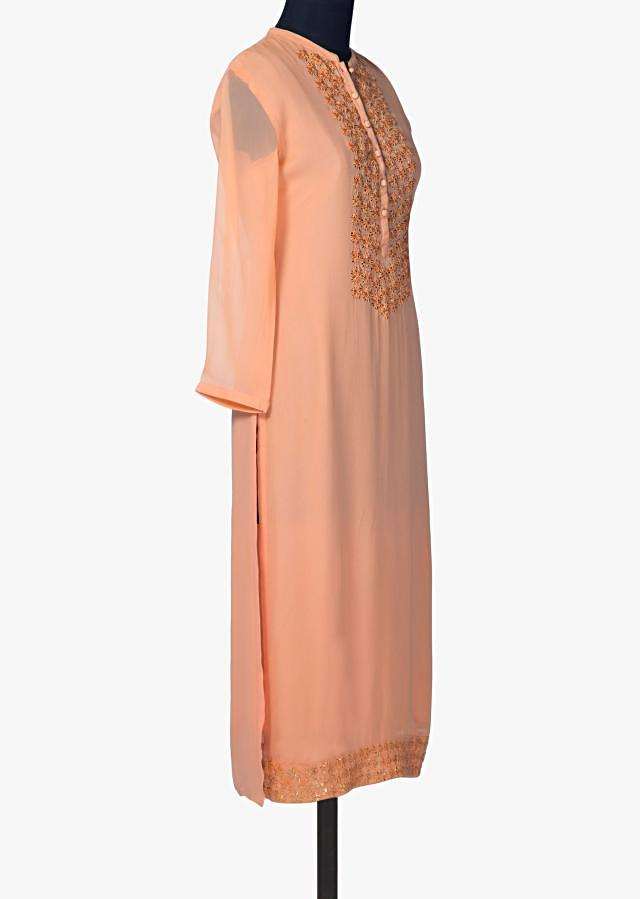 Peach georgette kurti with thread and gotta embroidered placket only on Kalki