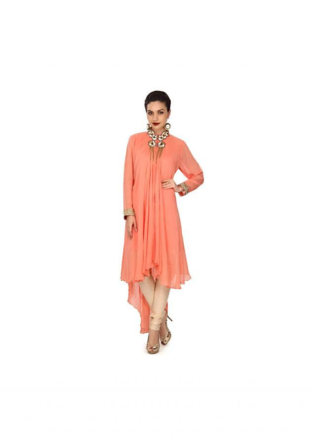 Peach kurti adorn in pearl and moti embroidered collar only on Kalki