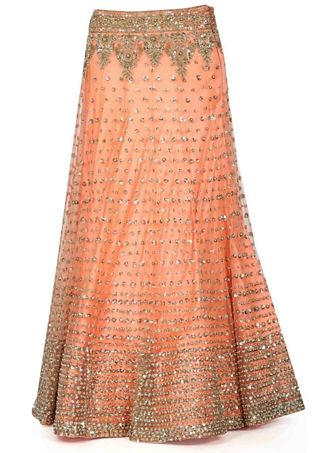 Peach lehenga adorn n sequin and moti embroidery only on Kalki
