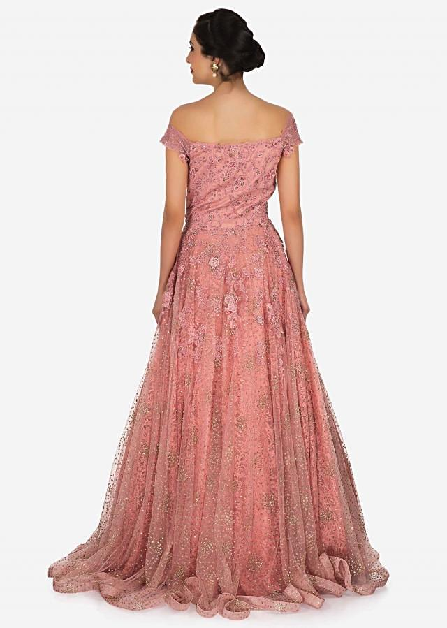 Peach net gown with chantilly lace adorn in the beautiful sequin net and resham work  only on Kalki