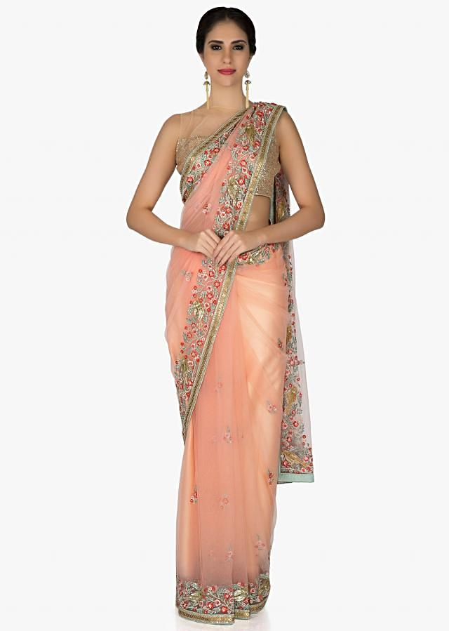 Peach Net Saree and Blouse Adorned with Resham Work, Sequins and Cut Dana only on Kalki