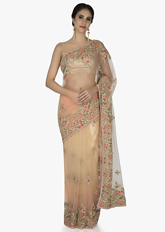 Peach Net Saree and Blouse Fashioned with Resham Work and Sequins only on Kalki