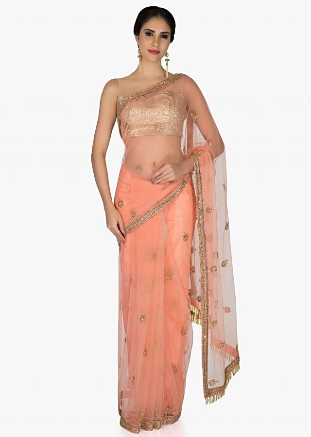 Peach Net Saree and Raw Silk Blouse Featuring Cut Dana and Resham Work only on Kalki