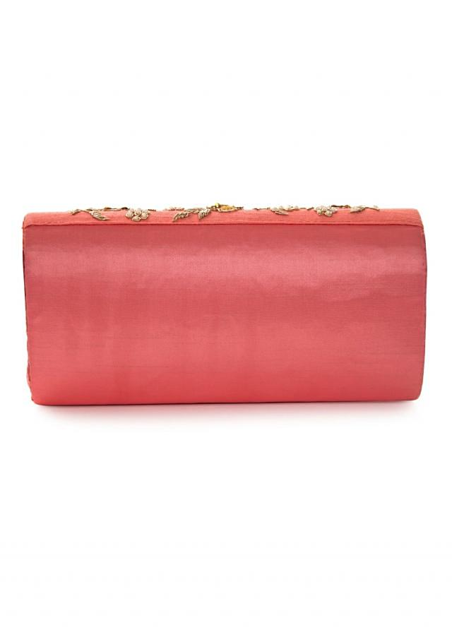 Peach pink bag embroidered in zari and sequin work only on Kalki