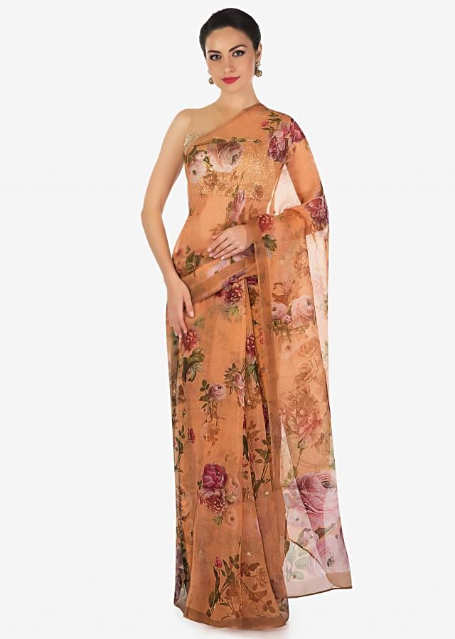 Peach saree features in tissue silk with sequin embroidery only on Kalki