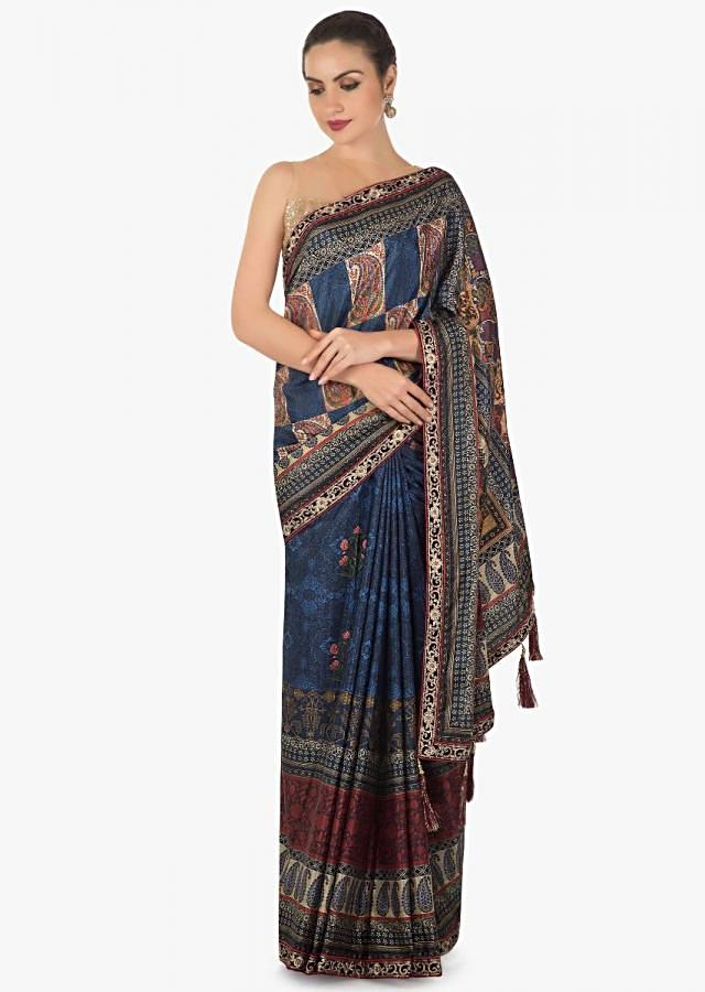 Peach saree in tissue cotton with floral embroidered butti only on Kalki