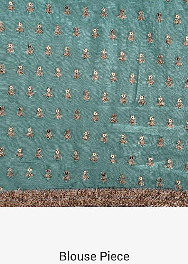 Peach saree in tissue print with an unstitched blouse in raw silk only on Kalki