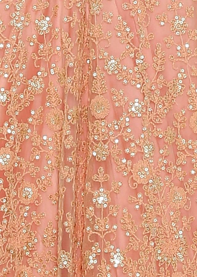Peach Satin and Net Gown Styled with Lace and Resham Work only on Kalki