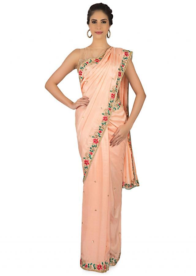 Peach Saree In Satin Embellished In Resham And Moti Embroidery In Floral Motif Online - Kalki Fashion