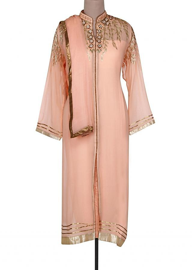 Peach semi stitched suit adorn in sequin and mirror embroidery only on Kalki