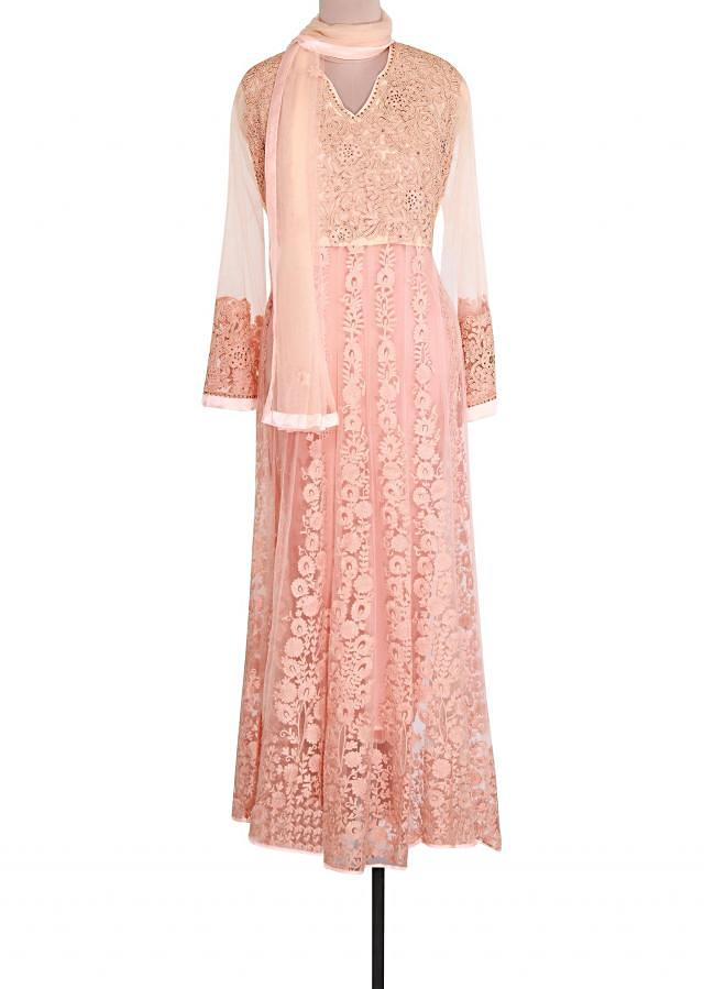 Peach semi stitched suit featuring in resham embroidery only on Kalki