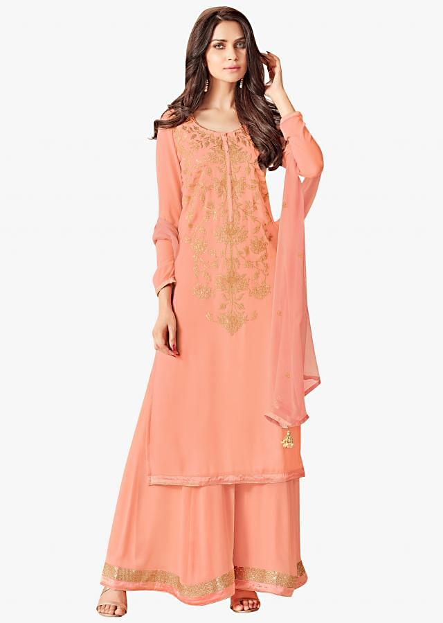 Peach semi stitched suit in crepe with golf foil print