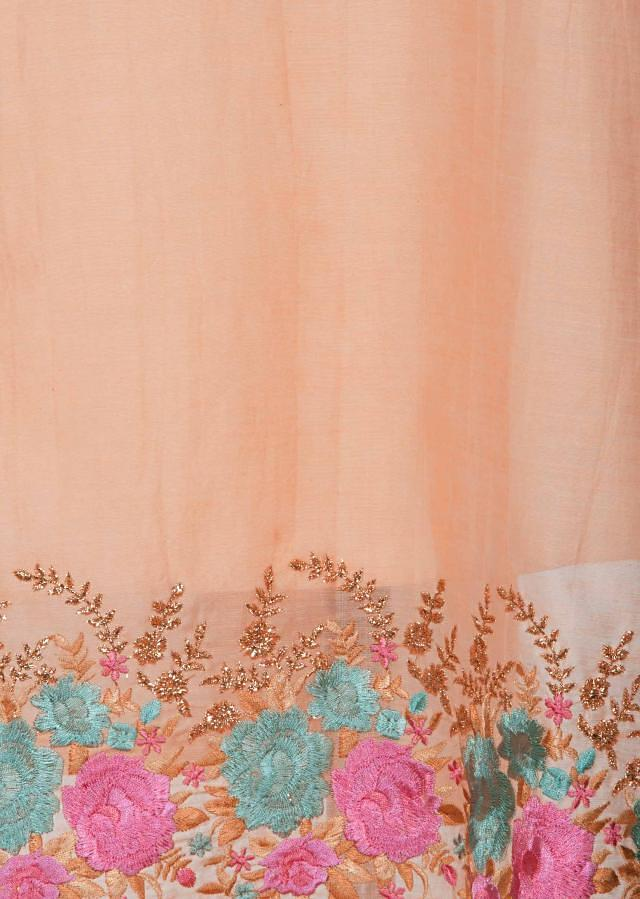 Peach semi stitched suit with embroidered neckline and hem only on Kalki