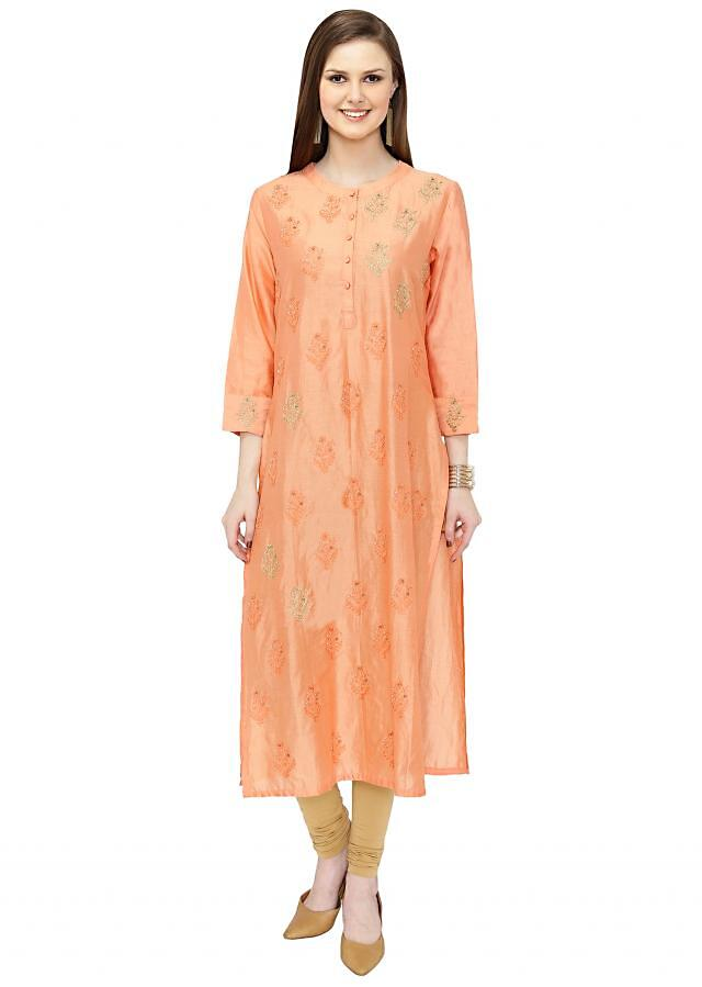 Peach Silk Kurta Crafted with Resham and Zari Butti only on Kalki