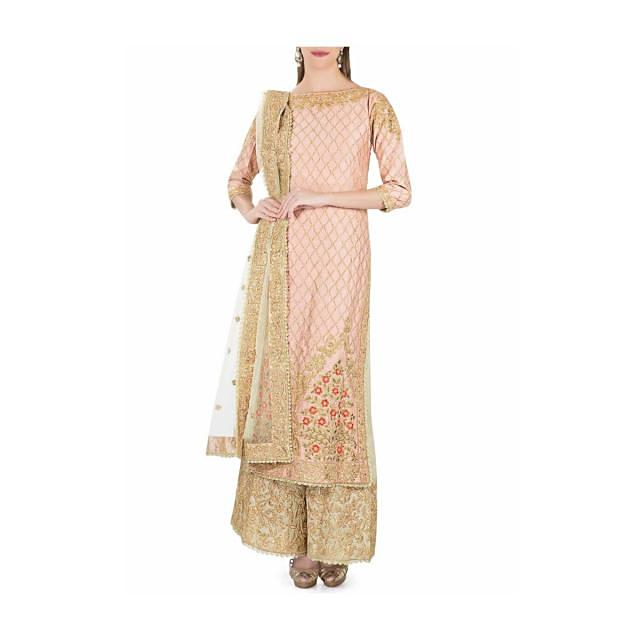 Peach Silk Top and Palazzos, Green Net Dupatta Featuring Zari and Resham Embroidery only on Kalki