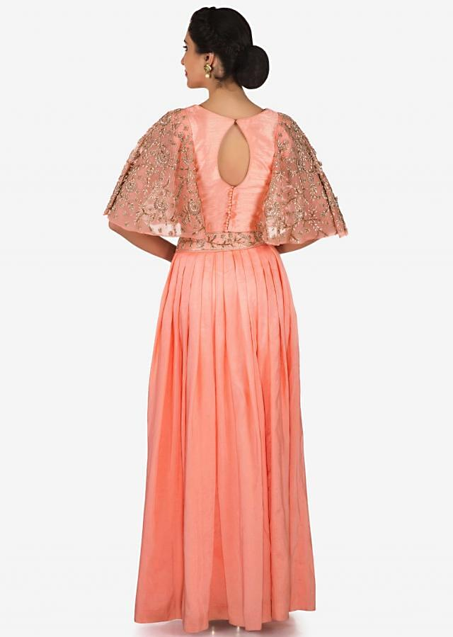 Peach skirt and top in chiffon enhanced with zardosi and cut dana embroidery work only on Kalki
