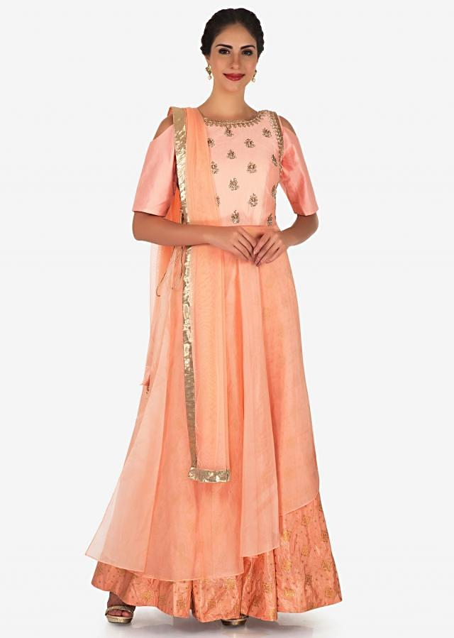 Peach Suit In Brocade Silk Beautified In Zardosi And Moti Work Online - Kalki Fashion