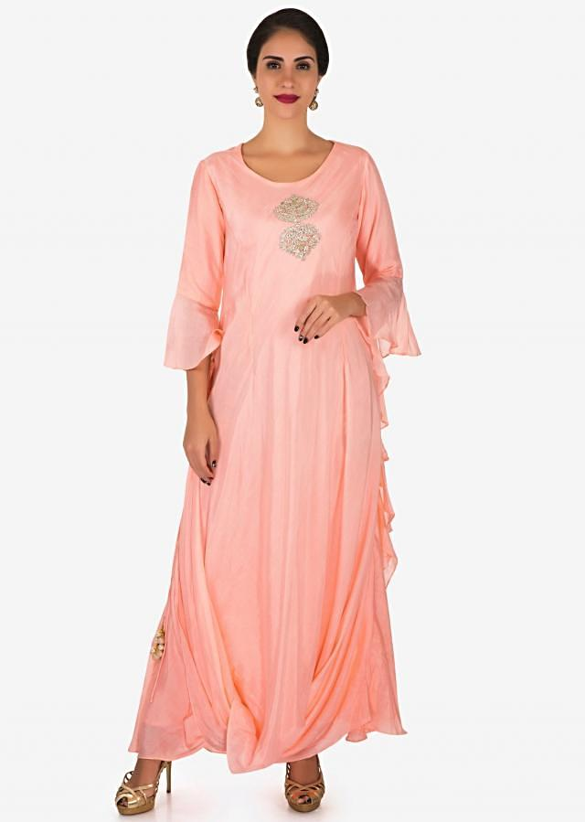 Peach tunic in cotton with a embroidered tassel at the bodice only on Kalki