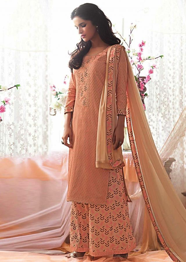 Peach unstitched printed suit with embroidered placket only on Kalki