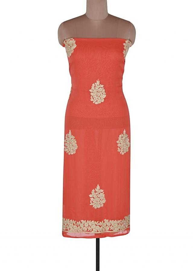 Peach unstitched suit adorn in thread embroidery only on Kalki