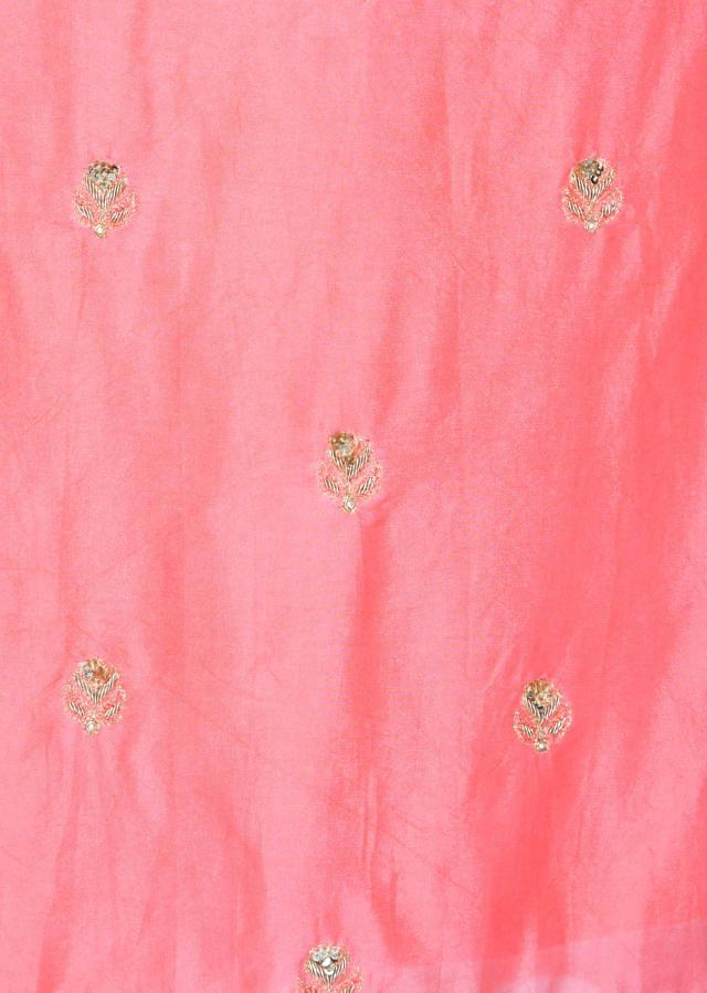 Peach unstitched  georgette suit with sequin and zardosi only on Kalki