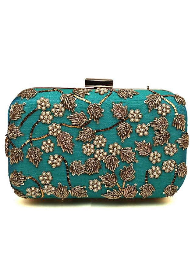 Peacock blue clutch in zardosi and pearl embroidery