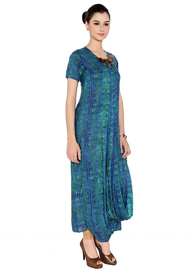 Peacock Blue Cotton Kurti With Maxi Style And All Over Print And Embellished Neckline Only On Kalki