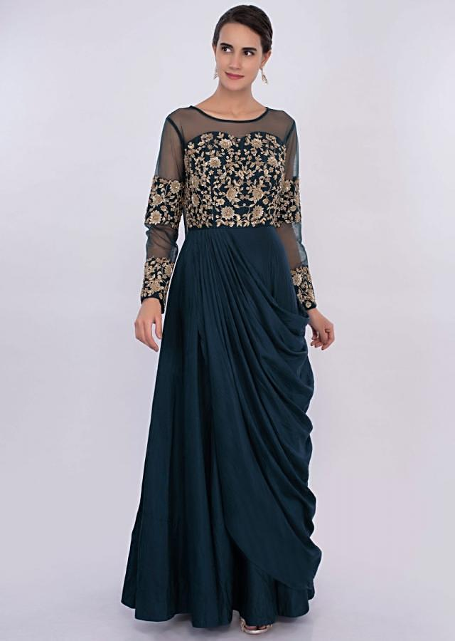 Peacock blue cowl drape gown with embroidered bodice only on Kalki