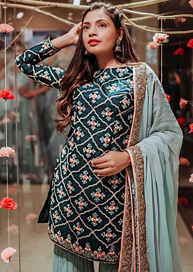 Peacock blue embroidered suit with turq blue sharara and dupatta only on kalki