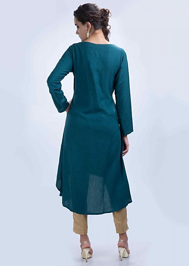 Peacock blue front short back long kurti with floral embroidered butti only on Kalki