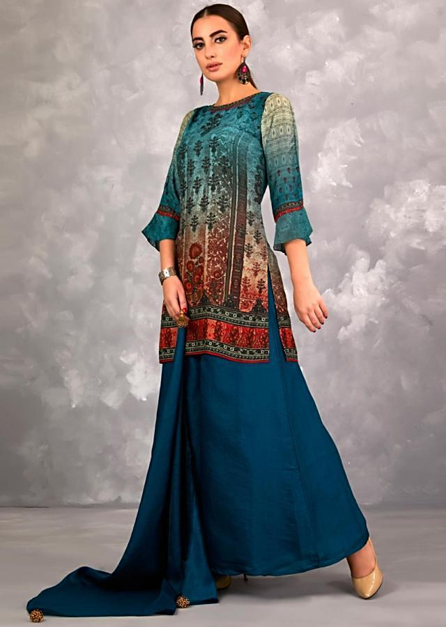 Peacock Blue Palazzo Suit With Ombre Printed Top In Flowerpot Motifs And Kundan Work Online - Kalki Fashion