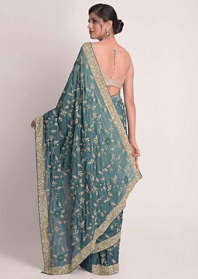 Peacock Blue Saree In Ombre Shaded Chiffon With 3D Floral Applique Online - Kalki Fashion