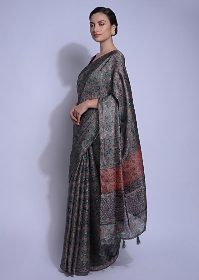 Peacock Blue Saree In Silk With Print In Geometric And Floral Motifs All Over Online - Kalki Fashion