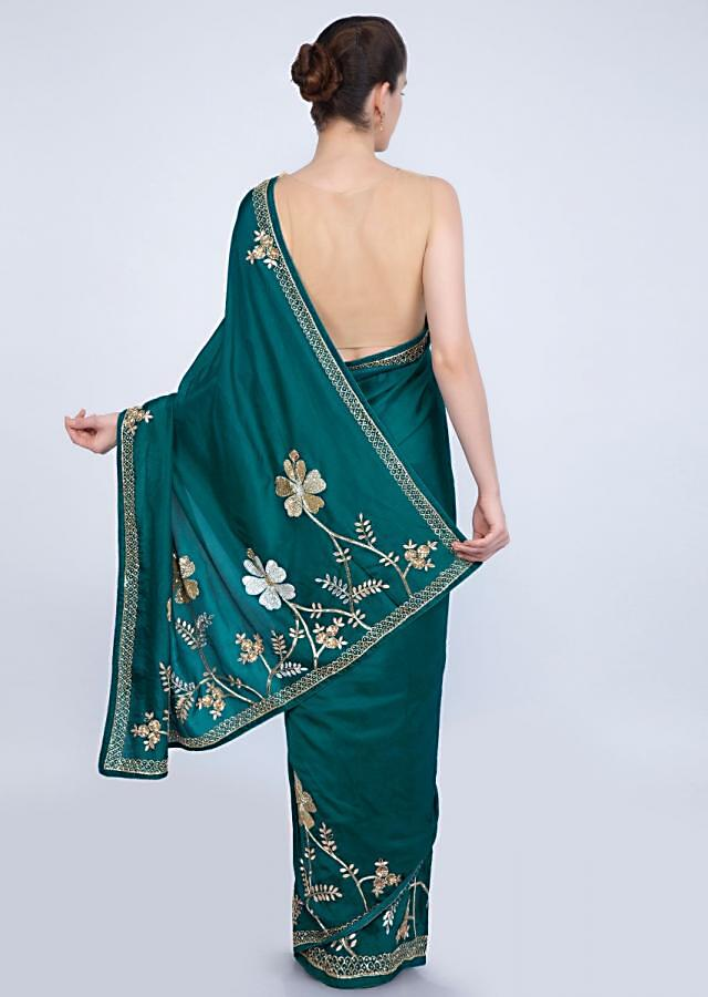 Peacock Blue Saree With Embroidered Lower Bottom And Pallu In Floral Motif Online - Kalki Fashion